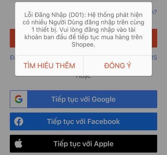 Tài khoản shopee bị lỗi đăng nhập D01